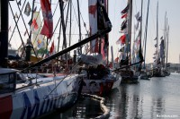 Voiliers IMOCA sur le ponton du Vendée Globe 2016