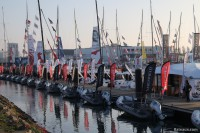 Semi-rigides sur le ponton du Vendée Globe 2016