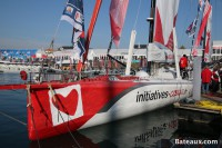 IMOCA Initiatives-Cœur de Tanguy De Lamotte sur le ponton du Vendée Globe