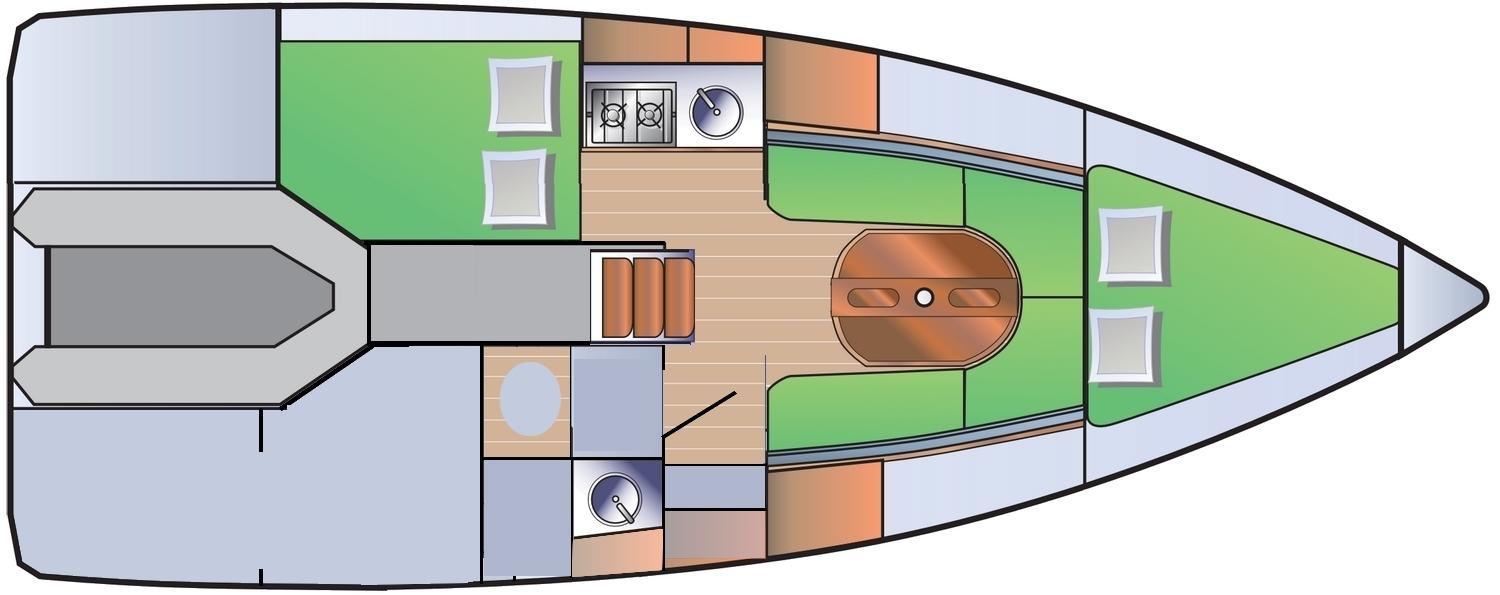 Plan d'amenagement du voilier