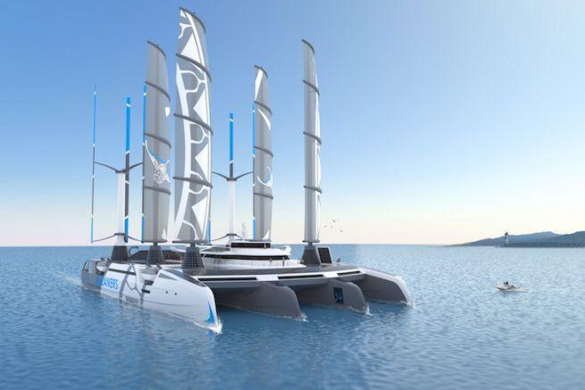Le Manta, quadrimaran de l'association SeaCleaners pour dépolluer les océans